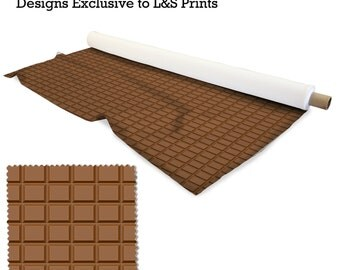 Chocolate Bar Design Fabric 2 way stretch Lycra  / Spandex / Satin / Chiffon / Jersey / Voile / Waterproof / Microfibre / Twill / Eyelet