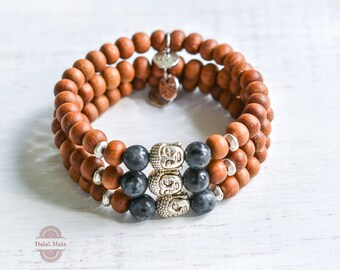 Bracelet sandalwood, labradorite, buddha, good luck charm, silver plated spacer, love, yoga, paddleboard, meditation