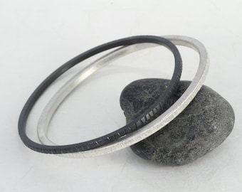 Stacking bangle bracelets, Silver and oxidized silver bangles, Contemporary bangle, Modern bangle, mid centry modern bangle,