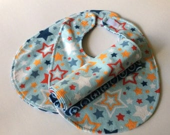 Two Bibs and a Burp cloth.