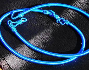 1 short NECKLACE neck collar 43 cm + 4 cm attanché in silk 100% SILK NECKELACE turquoise color