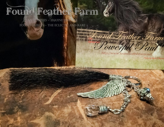 Handmade Horsehair Tassel Key Ring with Silver Charms, Crystals and Jewels
