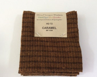 "Mary Flanagan Woolen charm squares  ""Caramel"" 10 pieces that are 5.5"" x 4.5"" inches each.  100% Wool all hand dyed together."