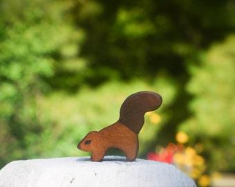 Miniature Wooden Waldorf Squirrel, tiny toy squirrel