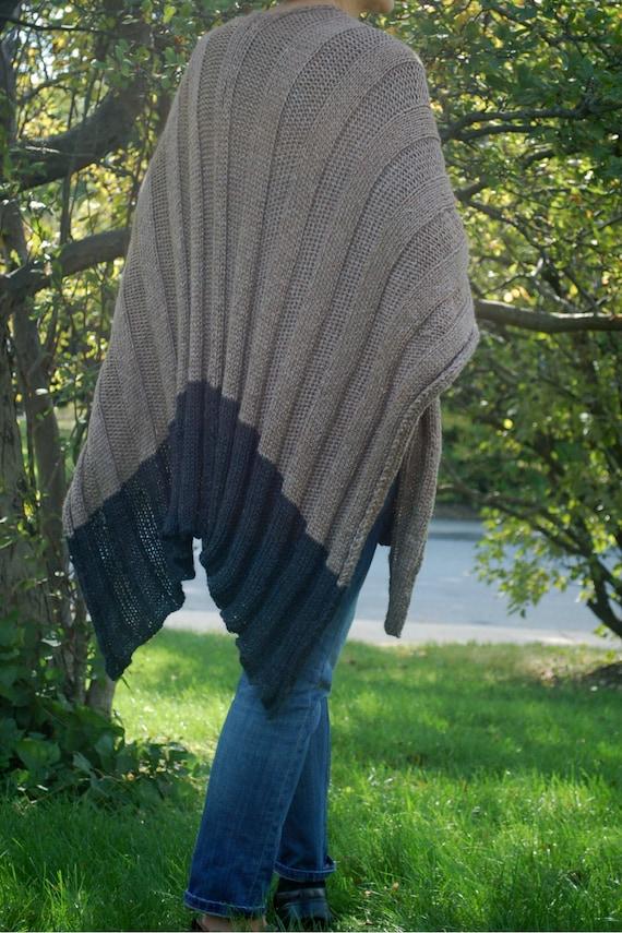 Easy to knit Wrap, Easy to knit Ruana, Poncho knitting ...