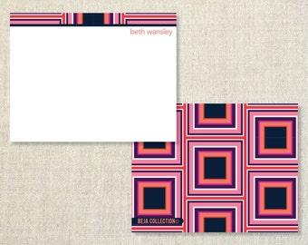 Personalized notecards - PINK PURPLE BLOCKS notecards