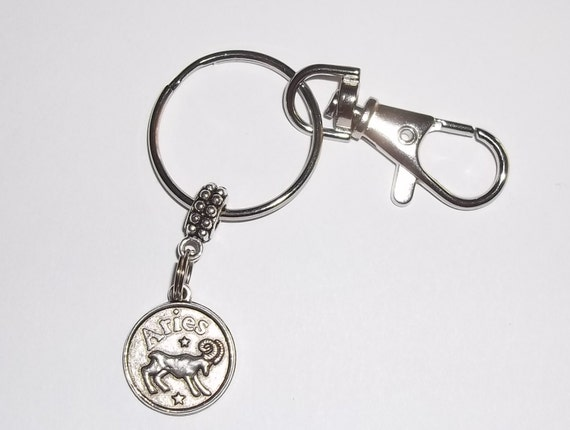 Aries  (March 21st - April 19th) Zodiac Keyring with Clip Hand Crafted Keychain