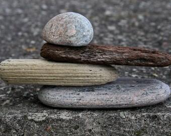 Small Garden Sculpture - Zen Balance - Driftwood - Bark - Beach Stone Cairn - Relaxation Gift