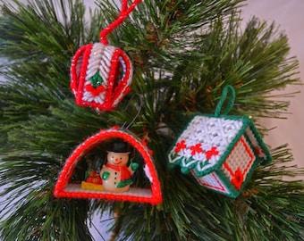 Plastic Canvas 3D Ornament Set