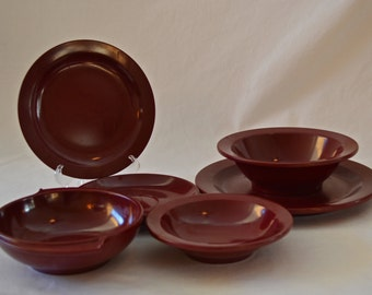 Vintage Boonton Melmac Burgundy Dinnerware Set of 6