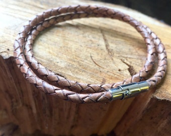 Double Wrap Braided Leather Bracelet.