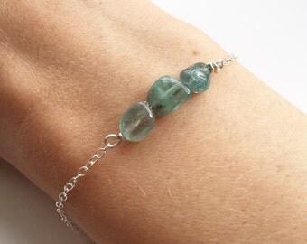 SILVER APATITE BRACELET - Sterling Silver Apatite Bracelet - Silver Aqua Blue Gemstone Bead Bracelet - Semiprecious Chain Stacking Bracelet