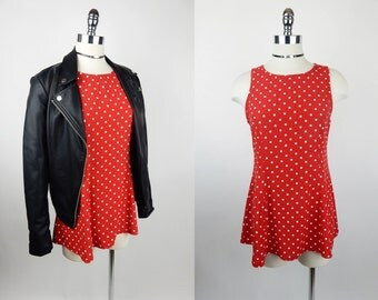 90s Vintage Red Polka Dot Mini Tunic Dress Top S/M