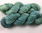 hand dyed sock yarn, fingering weight, 2 ply superwash merino wool and nylon, WINTER SAGE colorway