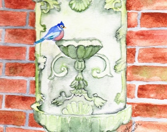 Bluebird on Fountain