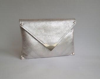 Silver clutch purse, Evening clutch, Vegan purse