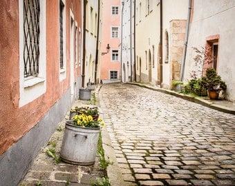 Travel Photography, European Decor, Cobblestone Street Scene, Architecture Print,  Tones, Germany Street Photography, Travel Home Decor