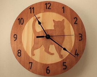 Pine cat clock Kitty clock Pet clock Wood clock Wall clock Wooden wall clock Cat design decor Cat lovers gift Animal clock Home clock