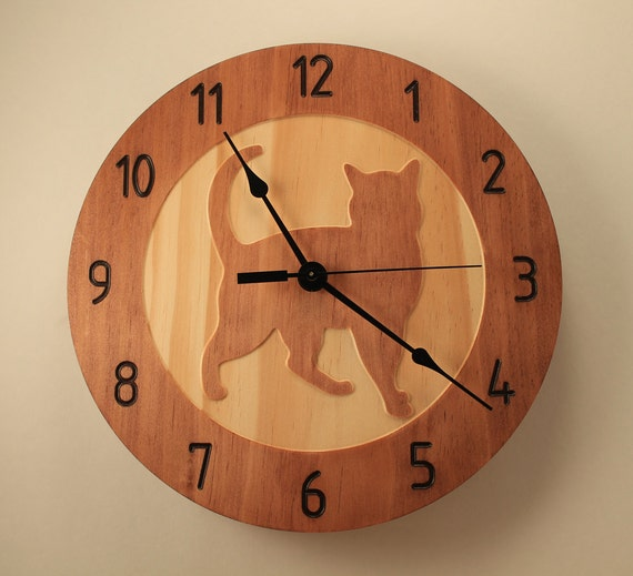 Pine cat clock kitty clock pet clock wood clock wall clock - Kitty cat clock ...