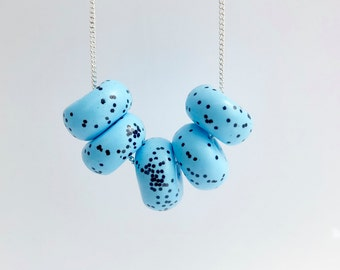 Polymer Clay Necklace - pale blue with black speckles/ silver plated chain/ glitter/ statement necklace/ beaded necklace/ unique jewellery