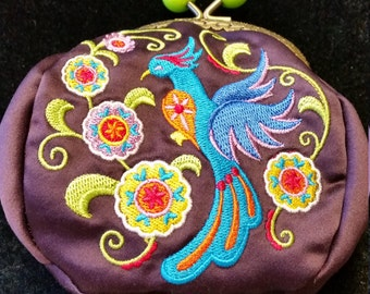 L337.  Coin purse with suzani bird design