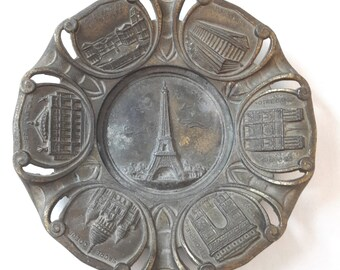 Antique french cast iron ashtray monuments of Paris, 1900's