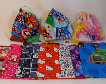Birthday Favor bags, Theme Bags, Party bags, Cloth favor bags.