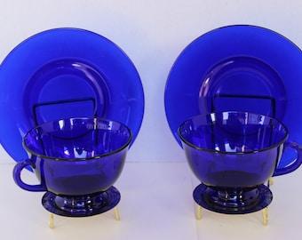 Vintage (2) Cobalt Blue Footed Cup & Saucer Sets