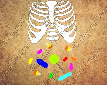 Candy Tummy Skeleton SVG PNG DXF Eps Fcm Cut File Printable Clipart Kids Skeleton with Candy Silhouette Cricut Scan N Cut
