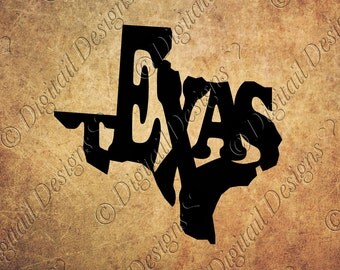 Texas State Word Art SVG PNG Dxf Fcm Eps Cut File Texas svg Printable clipart. Cut file for Silhouette, Cricut, SCAL Scan N Cut