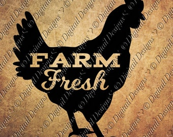 Farm Fresh Chicken SVG png, dxf, eps, fcm ai Cut file for Silhouette and Cricut svg Fresh Eggs Svg, chicken Svg