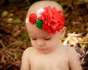 Christmas baby headband, holiday headband, baby headband. red and white baby headband