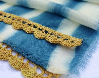Naturally Dyed Fine Wool Gauze Scarf with Hand Crocheted Trim Indigo/Camomile