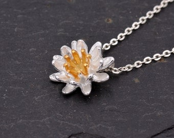Sterling Silver Lotus Flower Water Lily Blossom Dainty Pendant Necklace  z80