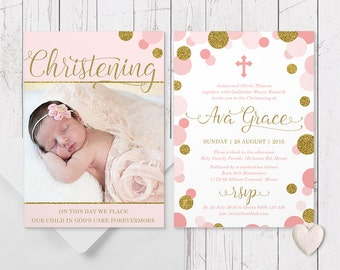 Pink and Gold Glitter Girl Christening Baptism Photo Invitation, Double Sided, Professionally Printed, Peach Perfect Australia