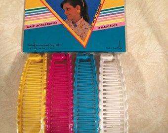 Vintage 1980's Kascades Hair Accessory Banana Clips Multi Pack
