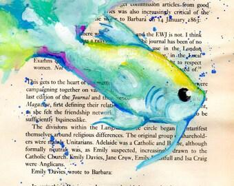 Blue Beta Fish Watercolor Print