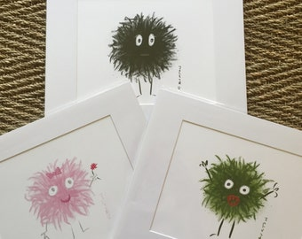 Monster Prints matted and ready to be framed in a standard 11 x 14 frame, gift under 20, kids room art