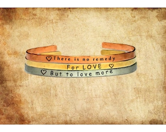 """There is no remedy for love but to love more   3-Piece Set Cuff Bracelet Personalized Jewelry Hand Stamped 1/4"""" Adjustable Stacking"""