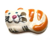 "Mini Ceramic CAT Button, Handmade orange kitty, 2/3"", tabby cat."