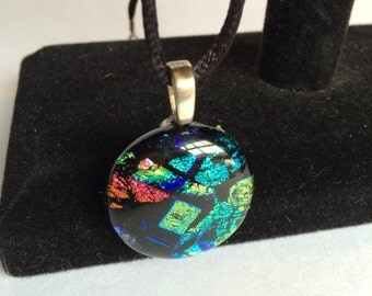 Round Blue, Green and Red Dichroic Glass Pendant