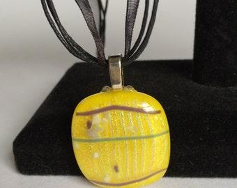 Square Yellow Dichroic Glass Pendant