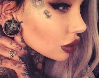 Plugs Baphomet - Ear plugs - Plugs 50 mm - Ear tunnels - Plugs pentagram - Satan - Pentacle -  Lucifer - Big tunnels - Big plugs - Ear plug