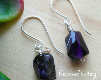 Everyday Amethyst dangle earrings, healing stones, crystals, chakra stones, handcrafted jewelry, minimalistic jewelry, purple stones