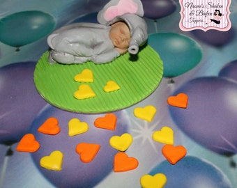 "1x 3"" Edible Cute Baby Elephant Cake Topper"