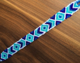 Friendship Bracelet. Handwoven.Friendship jewelry. Braided.Knotted.Wrap bracelet.Native.Aztec.Best friend.Gift.Diamond.Blue