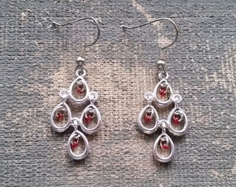 Red Chandelier Earrings, Handmade Earrings, Dangle Earrings-Ready To Ship