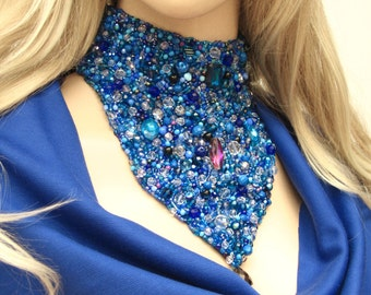 BLUE TEARS embroidered beaded necklace, romantic beaded choker,