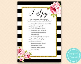Wedding Scavenger Hunt Game, I spy Wedding game, Black and Gold Wedding Game BS10 BS10B
