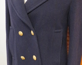 Vintage Evan-Piconet Navy blue color Pea coat Jacket Pure wool 100% Size S-M